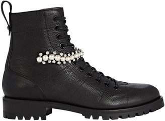 Jimmy Choo Cruz Crystal-Embellished Combat Boots