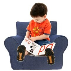 Zoomie Kids Dalessandro Kids Chair and Ottoman Color: Black