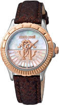 Roberto Cavalli by Franck Muller 35mm Logo Dial Watch w/ Leather Strap, Brown