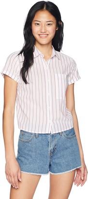 U.S. Polo Assn. Women's Short Sleeve Stripe Poplin Shirt