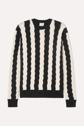 Saint Laurent Striped Cable-knit Wool Sweater - Black