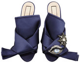 No.21 No. 21 Crystal Eye Satin Flat Slide Sandal
