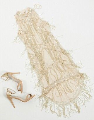 Frock and Frill Club allover embellished luxe midi fringe dress in gold