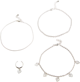 Carole Stainless Steel Anklet & Charm Toe Ring Set