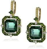 """Judith Ripka Lila"""" Green Quartz Asscher Drop Earrings (1/10cttw, G-H Color, SI1 Clarity)"""