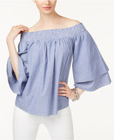 INC International Concepts Cotton Striped Chambray Off-The-Shoulder Top, Created for Macy's