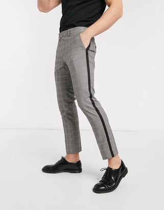 Moss Bros cropped checked trousers with black side stripe