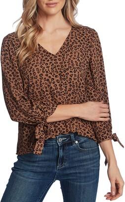 CeCe Leopard Cluster Tie Sleeve Blouse