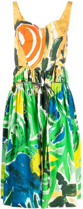 Marni Tropical-Print Midi Dress