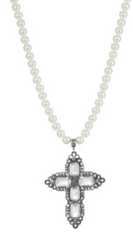 2028 Women's Pewter Rectangle Clear Crystal Cross Imitation Pearl Necklace