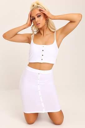 I SAW IT FIRST White Rib Front Popper Mini Skirt