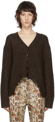 Proenza Schouler Brown White Label Marled V-Neck Cardigan