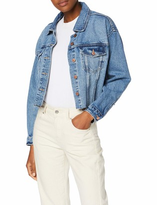 New Look Women's Crop Pomegrante Denim Jacket