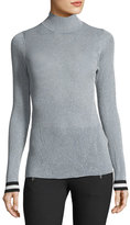 Rag & Bone Priya Turtleneck Metallic Sweater w/ Striped Cuffs