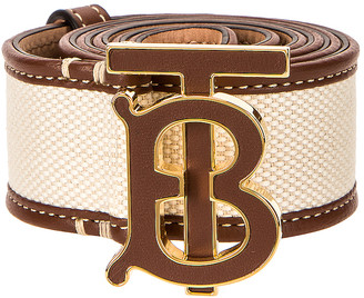 Burberry TB Horseferry Canvas Belt in Natural | FWRD