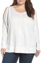 Caslon Cold Shoulder Sweatshirt (Plus Size)