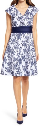 Tadashi Shoji Floral Cross Bodice Fit & Flare Cocktail Dress
