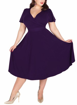 Nemidor Women's V-Neckline Stretchy Casual Midi Plus Size Vintage Dress (Black 24)