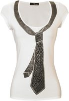 Jane Norman Embellished Tie Print T-Shirt