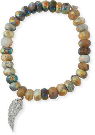 Sydney Evan Dendrite Opal Beaded Bracelet with Diamond Wing Charm