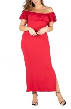 24seven Comfort Apparel Women's Plus Size Ruffle Off Shoulder Maxi Dress
