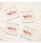 Cathy's Concepts Be Merry Set Of 4 Glass Coasters