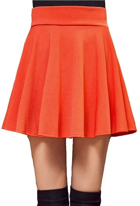 Kemosen Casual Mini Women Skirt Stretchy Flared with Lining Pleated Solid Casual Mini Skater Skirt Orange
