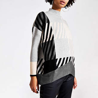 River Island Grey check long sleeve oversized jumper