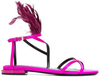 Lanvin feather-embellished sandals
