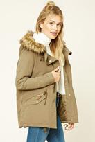 Forever 21 FOREVER 21+ Faux Fur-Trimmed Utility Jacket