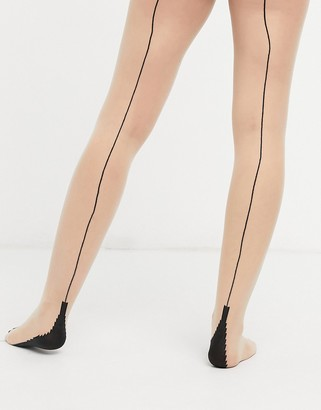 Jonathan Aston contrast backseam tights in beige