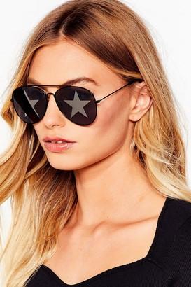 Nasty Gal Womens Dancefloor Pro Star Aviator Sunglasses - Black - One Size