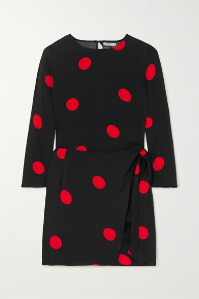 Reformation Janae Wrap-effect Polka-dot Crepe De Chine Mini Dress - Black