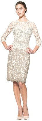Tadashi Shoji Women's Lace 2 Tone 3/4 Sleeve Dress with Belt