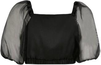 River Island Girls Organza Sleeve Cropped Blouse-Black
