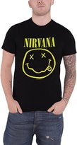 Nirvana T Shirt Smiley face band logo new Official Mens Black