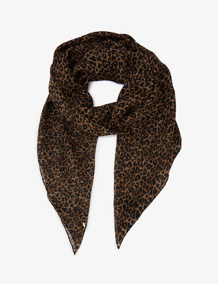 Saint Laurent Grand Leopard print wool scarf