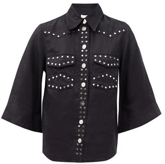 Ganni Flared-sleeve Studded Linen Shirt - Black