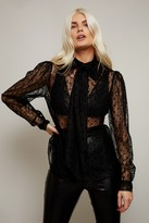 Thumbnail for your product : Little Mistress Annalisa Black Spot Lace Pussybow Shirt