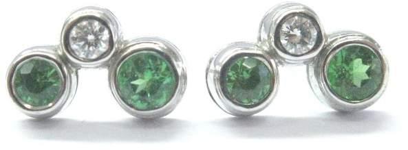 Tiffany & Co. Diamond Platinum Green Tourmaline Bubble Earrings