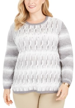 Alfred Dunner Plus Size Well Red Ombre Cable-Knit Sweater