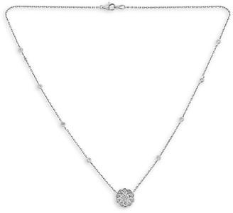 Saks Fifth Avenue 14K White Gold Diamond Flower Necklace