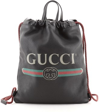 Gucci Logo Drawstring Backpack Printed Leather Medium