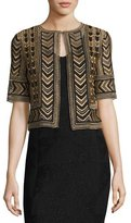 St. John Priya Embroidered Cropped Jacket, Bronze