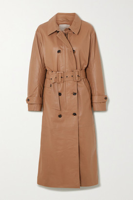 MUNTHE Belted Double-breasted Leather Trench Coat - Camel