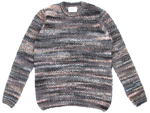 Folk Highlight Crew Knit In Charcoal Marble - L