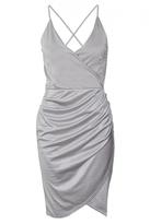 Quiz Grey Slinky Wrap Over Bodycon Dress