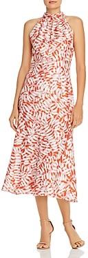 Milly Silk High-Neck Brushstroke Print Midi Dress