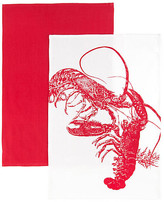 One Kings Lane Set of 2 Lobster Kitchen Towels - Red/White