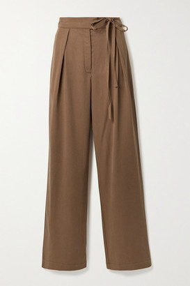 Reformation Sonia Belted Pleated Tencel Wide-leg Pants - Light brown